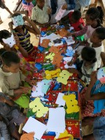 Lemur crafts for the children at the Madagascar Fauna & Flora Group's 2015 World Lemur Festival in Madagascar.