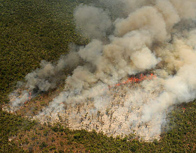 Overhead view of a slash-and-burn fire raging across Madagascar's forests