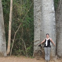 The author Lynne Venart on her first trip to Madagascar in 2012. Photo taken by Christine Venart in Ankarafantsika National Park.