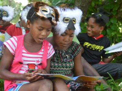 Children reading during 2018 World Lemur Day