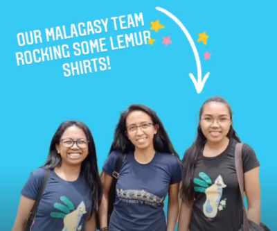 Our Malagasy team wearing some of the shirts designed by illustrators in our store.