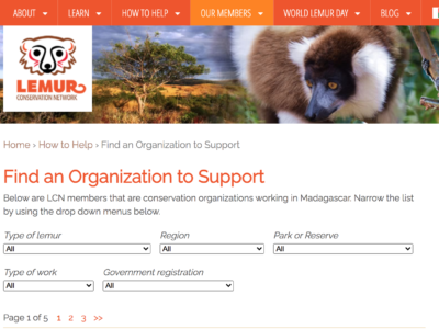Screen Shot of Find an Organization to Support page